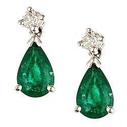 D'Yach 14k White Gold Emerald and Diamond Accent Earrings