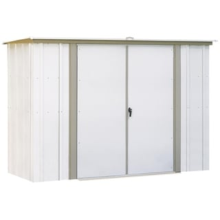 8 x 3 ft. Eggshell/ Taupe Galvanized Steel Pent Roof Garden Shed