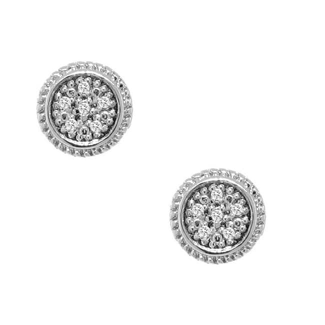 Sterling Silver 1/10ct TDW Diamond Round Earrings