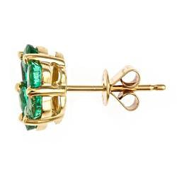 Anika and August 14k Yellow Gold Emerald Stud Earrings - Thumbnail 1