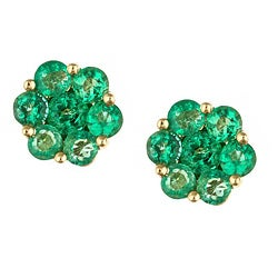 Anika and August 14k Yellow Gold Emerald Stud Earrings