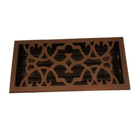 Victorian Scroll Design Bronze 6x12-inch Floor Register