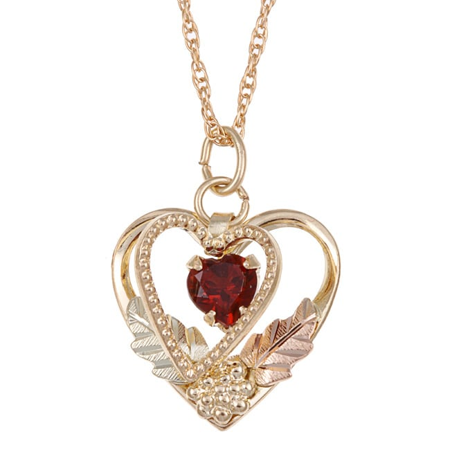 Black Hills Gold Garnet Heart Necklace Free Shipping Today Overstock