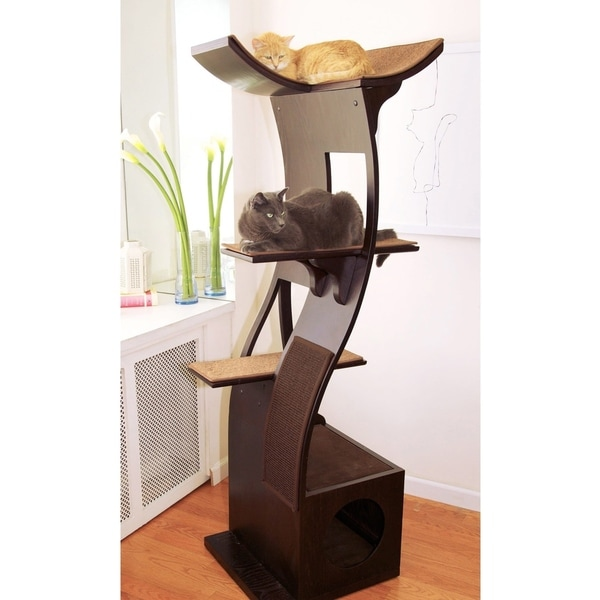 The Refined Feline's Lotus Cat Tree & Tower (Espresso, Grey, or Mahogany)