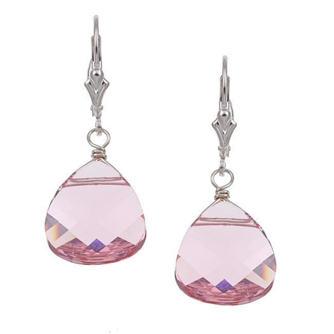 Charming Life Sterling Silver Pink Crystal Briolette Earrings