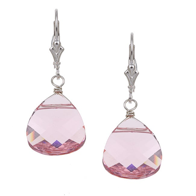 Lola's Jewelry Sterling Silver Pink Crystal Briolette Earrings - Thumbnail 0