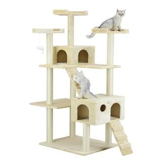 Go Pet Club Beige Sisal/Wood Jungle Gym Cat Tree Condo and Perch Pet Furniture