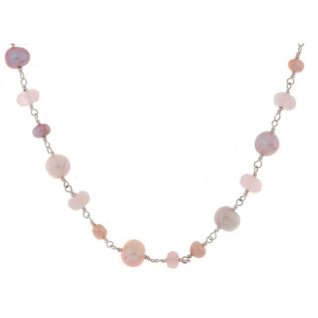 Misha Curtis Silver Pretty-in-Pink Rose Quartz/ FW Pearl Neckla