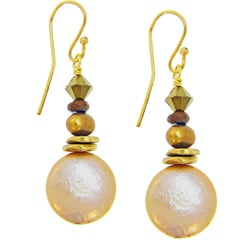 Misha Curtis Bronze Beauty Coin Pearl Drop Earrings (4-12 mm)