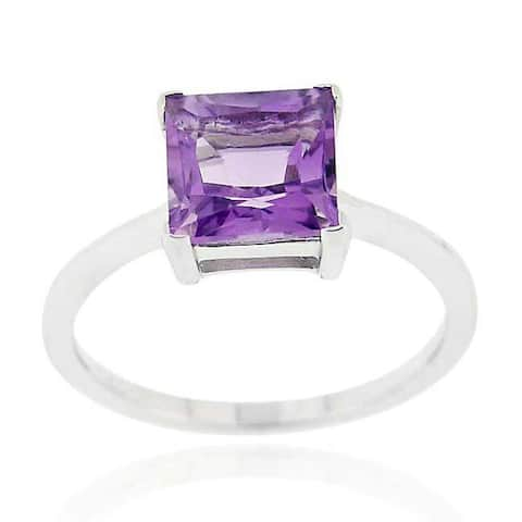 Glitzy Rocks Sterling Silver 1 5/8ct TGW Gemstone Solitaire Square Ring