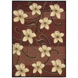 Nourison Hand-hooked Red Paradise Floral Rug (7'3 x 9'3) - Thumbnail 0