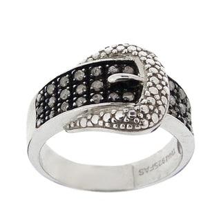DB Designs Sterling Silver 1/4ct TDW Diamond Buckle Ring