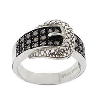 DB Designs Sterling Silver 1/4ct TDW Diamond Buckle Ring