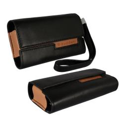 Black Leather Horizontal BlackBerry Curve Case - Thumbnail 1