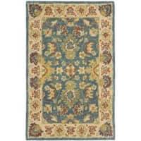 Safavieh Handmade Jaipur Blue/ Beige Wool Rug - 2' x 3'