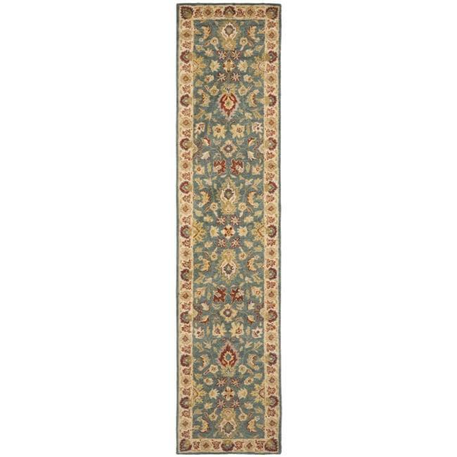 Safavieh Handmade Jaipur Blue/ Beige Wool Runner (2'3 x 8')