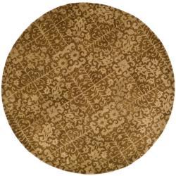 Safavieh Handmade Majestic Beige Wool Rug (8' Round) - Thumbnail 0