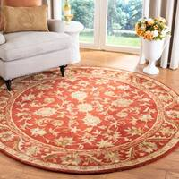 Safavieh Handmade Heirloom Red Wool Rug - 6' x 6' Round