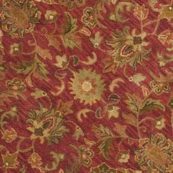 Safavieh Handmade Heirloom Red Wool Rug (8' Round) - Thumbnail 2