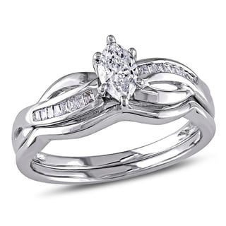 Miadora Signature Collection 14k White Gold 1/2ct TDW Marquise Diamond Bridal Set (G-H, I1-I2)