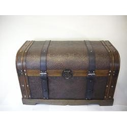 Antique Victorian Wood Trunk Treasure Chest