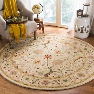 Safavieh Mahal Handmade Canvas-Backed Ivory Wool Rug (6' Round)