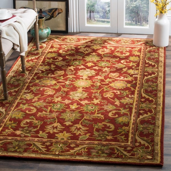Safavieh Handmade Heirloom Red Wool Rug - 5' x 8'