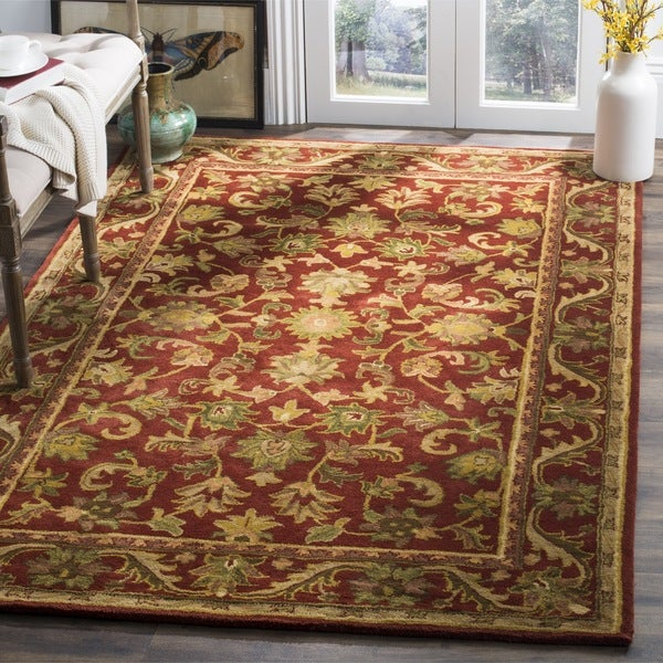 Safavieh Handmade Heirloom Red Wool Rug (6' x 9')