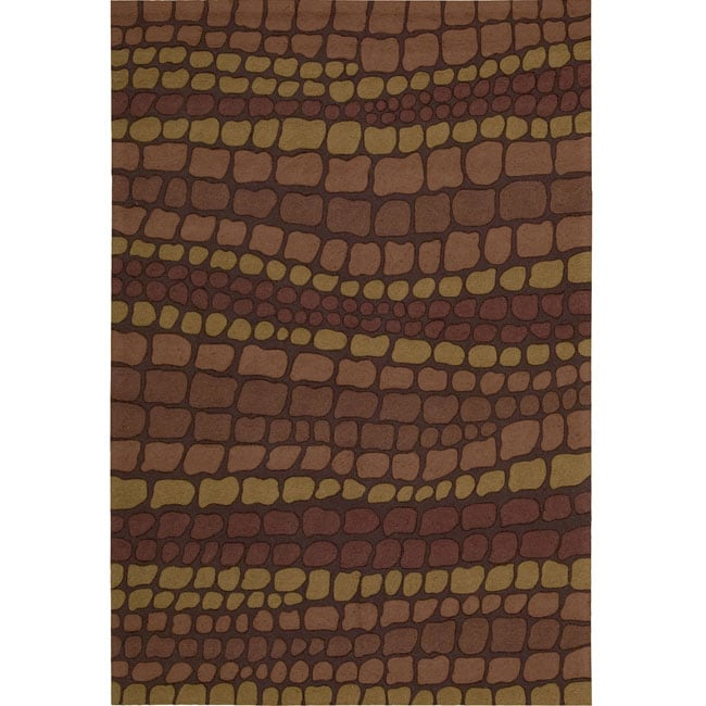 Nourison Hand-hooked Fantasy Brick Abstract Rug (5' x 7'6)