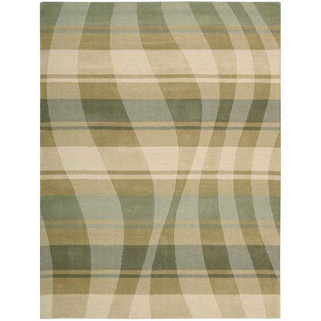 Nourison Hand-tufted Panache Sage/Beige Abstract Wool Rug (5'6 x 7'5)