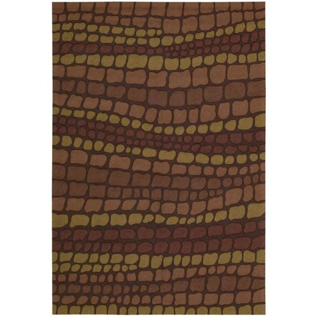 Nourison Hand-hooked Fantasy Brick Abstract Rug (8' x 10'6)