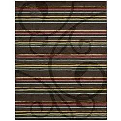 Nourison Hand-tufted Panache Brown Floral Wool Rug (8' x 11') - Thumbnail 0