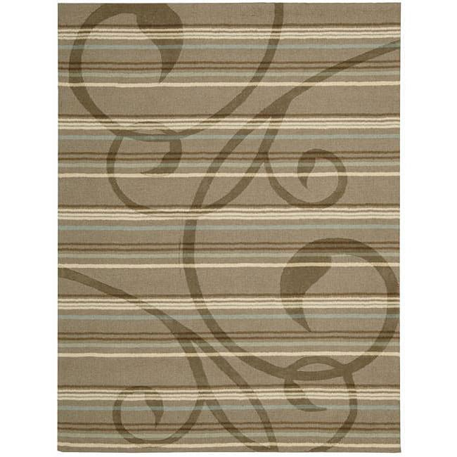 Nourison Hand-tufted Panache Brown Floral Rug (8' x 11')