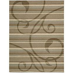 Nourison Hand-tufted Panache Brown Floral Rug (8' x 11')