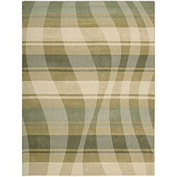 Nourison Hand-tufted Panache Sage/Beige Abstract Wool Rug - 8' x 11' - Thumbnail 0