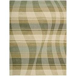 Nourison Hand-tufted Panache Sage/Beige Abstract Wool Rug (8' x 11')