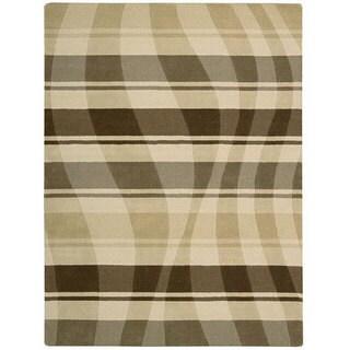 Nourison Hand-tufted Panache Beige/Brown Abstract Wool Rug (8' x 11')