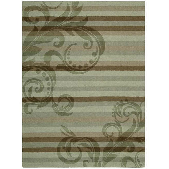 Nourison Hand-tufted Panache Green Floral Wool Rug (8'0 X 11'0)