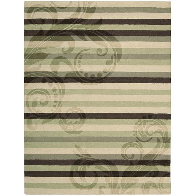 Nourison Hand-tufted Panache Green/Brown Floral Wool Rug (8' x 11')