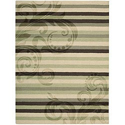 Nourison Hand-tufted Panache Green/Brown Floral Wool Rug (8' x 11') - Thumbnail 0
