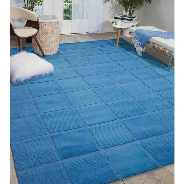 Nourison Westport Hand-tufted Blue Wool Rug (5' x 8') - 5' x 8'