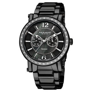 Akribos XXIV Men's Stainless Steel Swiss Diamond Black Watch