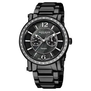 Akribos XXIV Men's Stainless Steel Swiss Diamond Black Watch