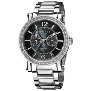 Akribos XXIV Men's Stainless Steel Swiss Water-Resistant Diamond Silver-Tone Watch