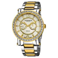 Akribos XXIV Men's Stainless Steel Swiss Day/ Date Diamond Gold-Tone Watch