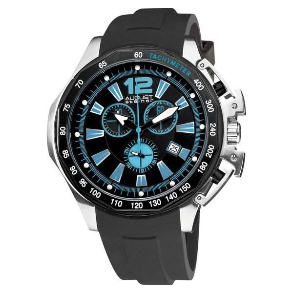 August Steiner Men's Water-resistant Stainless Steel Swiss Quartz Chronograph Blue Watch