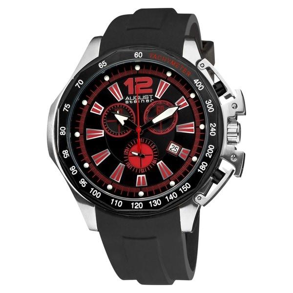 August Steiner Men's Brushed-Stainless-Steel Swiss-Quartz Chronograph Watch