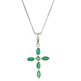 Anika and August 14k White Gold Emerald Cross Necklace