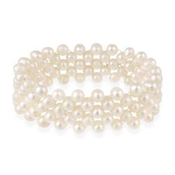 Glitzy Rocks Freshwater White Pearl Stretch Bracelet (5.5-6 mm)