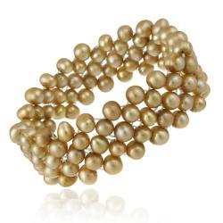 Glitzy Rocks Freshwater 3-row Brown Pearl Stretch Bracelet (5.5-6 mm)
